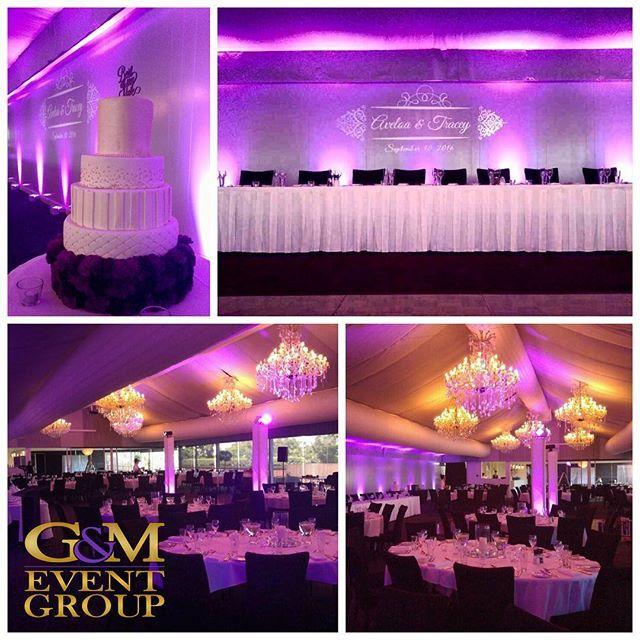 Our lighting designers have worked their magic this afternoon :purple_heart: @victoriapark || #gmeventgroup #lightingdesign #uplighting #custommonogram #moodtowers #marqueewedding #weddinglighting #brisbanewedding #queenslandweddings #weddingcake
