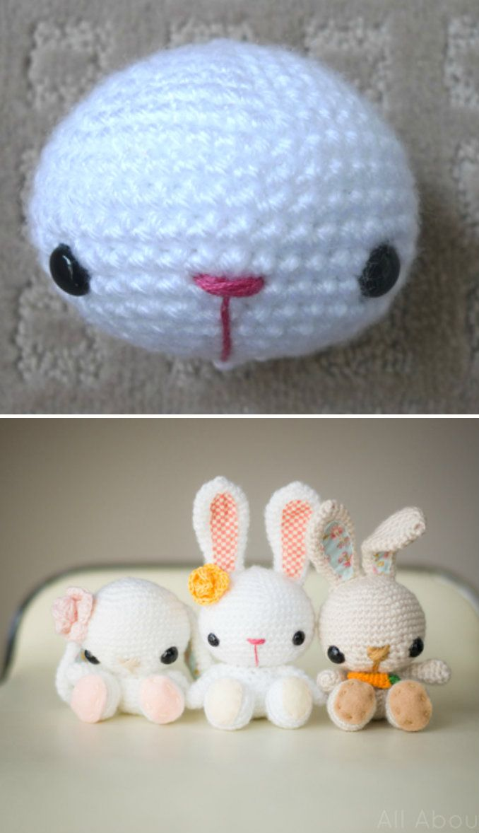 Little Crochet Bunnies *༺✿ƬⱤღ  http://www.pinterest.com/teretegui/✿༻*
