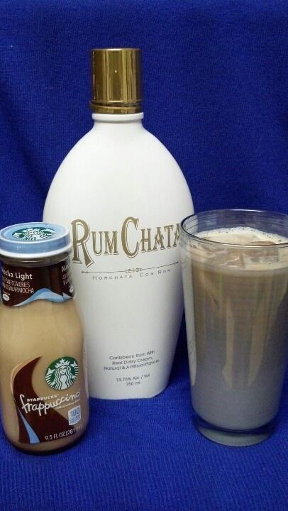 "Mocha Chata: 1/2 Mocha Frappuccino, 1/2 RumChata liqueur = creamy-cinnamony deliciousness! (Ice and ""Light"" formula frapp are optional)"