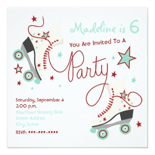Roller Skate Birthday Invitations Roller Skate Party Invitation Red + Aqua