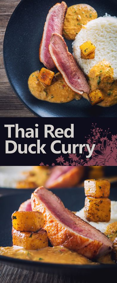 Thai Red Duck Curry with Pineapple Recipe: This delicious and simple slightly deconstructed duck curry is full of the taste of Thai food and sweetened with pineapple