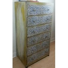 Hand Painted Mid-Century Tall Chest Of Drawers