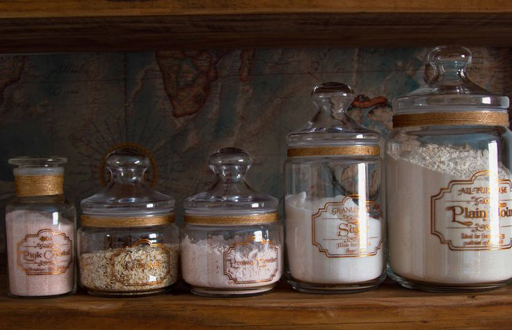 Designer collection of apothecary style Kitchen pantry jars