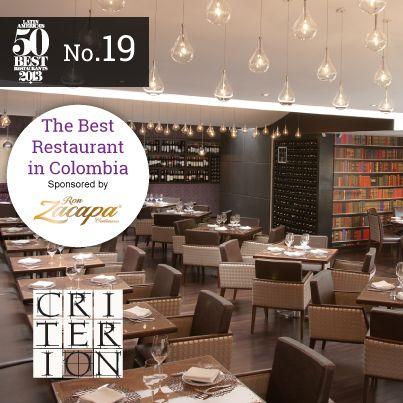 Criterión elegido como el mejor #restaurante de Colombia y el No 19 de América Latina. #BestRestaurants , #Restaurants, #Restaurantes , #MejoresRestaurantes