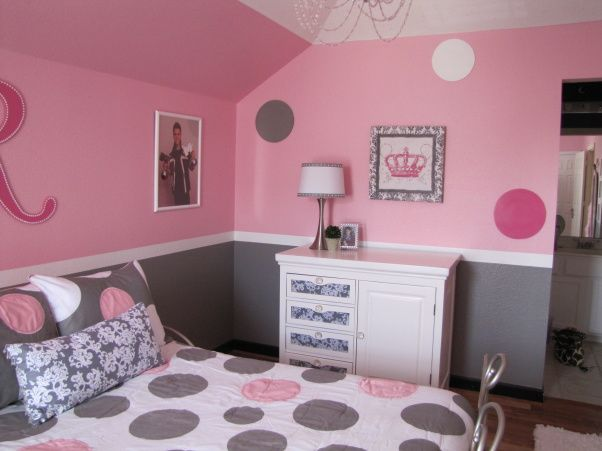 Wall Designs For Girls Room teen roomteen bedroom themesmodern girls bedroommodern furniture bedroommodern Pretty In Pink Pink And Gray Girls Bedroom The Dresser Was Converted From A
