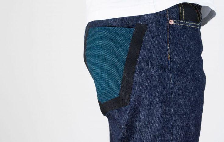 PHI01_W01 _pocket made of kimono KITSUOU キッコウ _laser cut and glued sergé _14 oz denim fabric _relax waist tapered legs