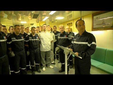 Toute l'actualité sur http://www.bfmtv.com/ François Hollande était ce mercredi à bord du sous-marin nucléaire lanceur d'engins, Le Terrible. Un symbole fort...