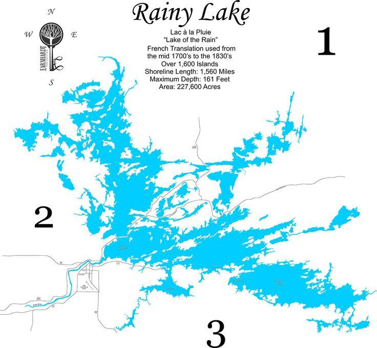 Rainy Lake, Minnesota - Wood Laser Cut Map - Earnhardt Collection Map