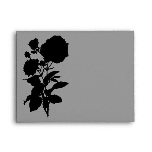Black Rose Silhouette A2 Envelopes