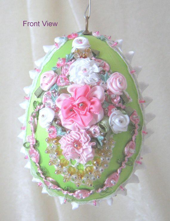 Satin Easter Egg Ornament EL106 by WhiteHawkOriginals on Etsy, $25.00
