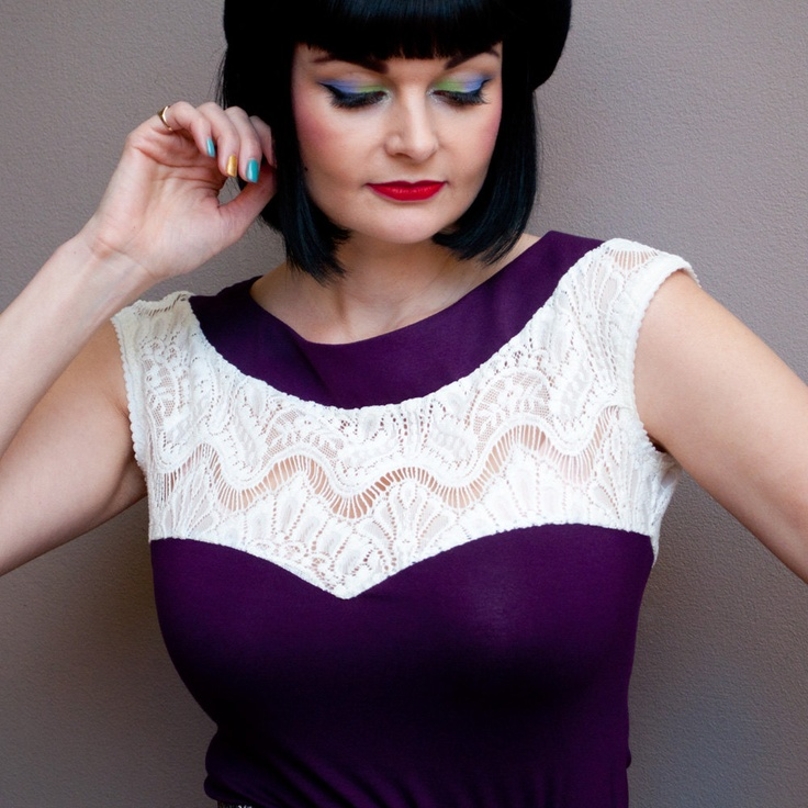 Love this top!  Purple Cream Lace Top, Jersey Knit Tank Top, Sweetheart Neckline, Boat Neck, Cap Sleeve, Fitted Body, Cream Lace, Made in Australia. $95.00, via Etsy.