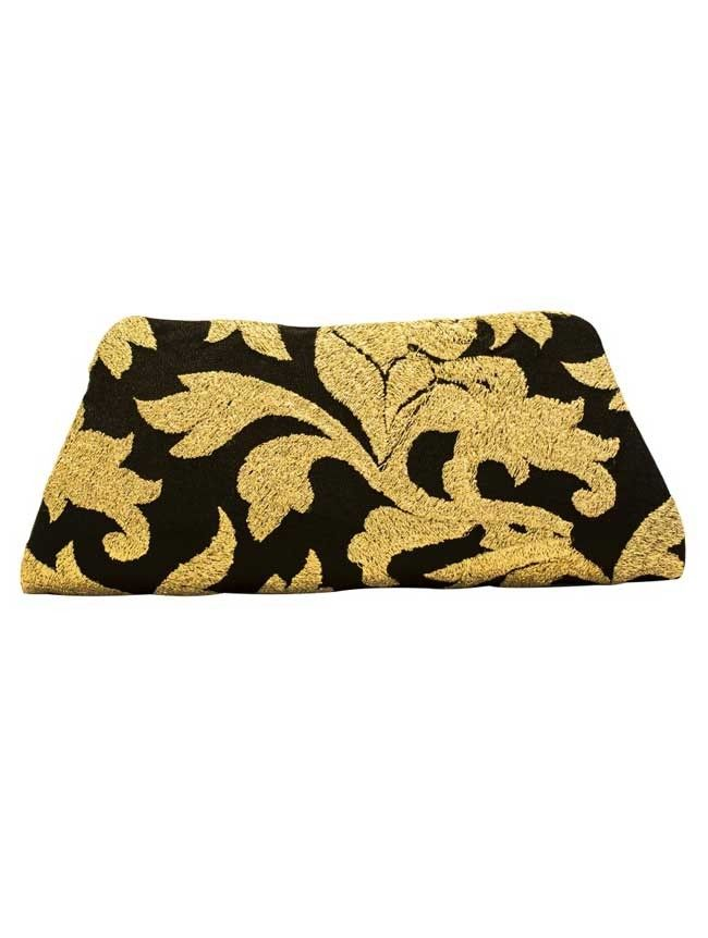 Golden Waves- Black - Black/Gold Weave Clutch