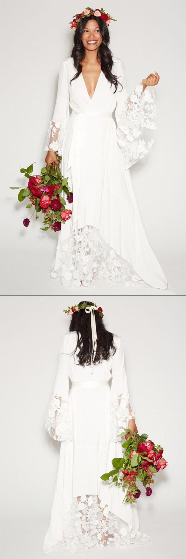 For a breezy boho vibe on your wedding day, wear a flower crown with your long sleeved wedding dress.