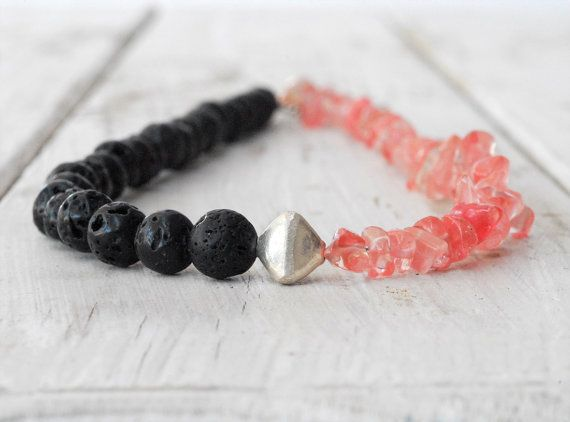 Lava Rock and Rose Quartz Necklace Pink and Black by SunSanJewelry