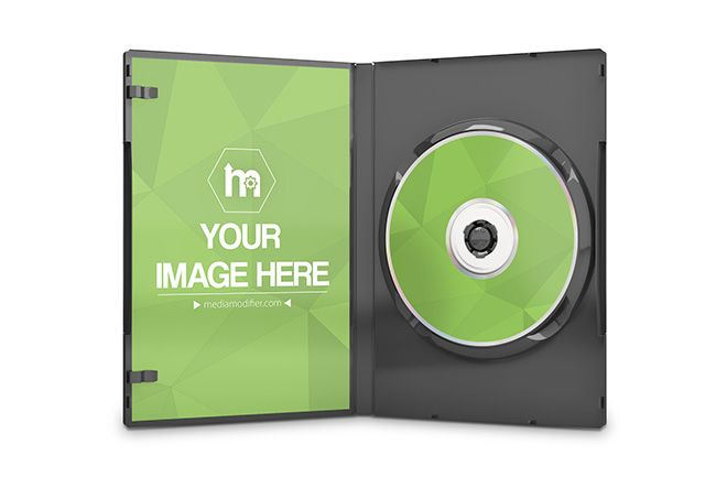 Online mockup generator for the inside design of a CD, DVD or blu-ray disc case. Upload your own images to the placeholders and customize the color of the case. Display how your product case looks from the inside and bring attention that there is something more inside the case besides just the disc itself. 3D mockup of the inner side of a DVD case standing on an isolated white background.