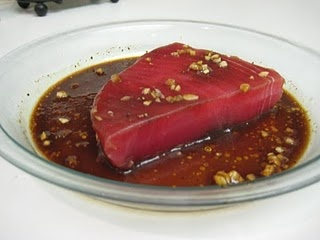 Tuna Steak Marinade. I made this last night, first time ever making tuna steak, but I made some alterations per suggestions from another blog: i used 1/3 cup soy sauce added 2 Tbsp honey and a pinch of ginger powder & everything else was left the same. It was pretty good.