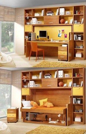 Librero-cama, encuentra más opciones para decorar espacios pequeños con muebles multiusos aquí...http://www.1001consejos.com/muebles-multiusos/