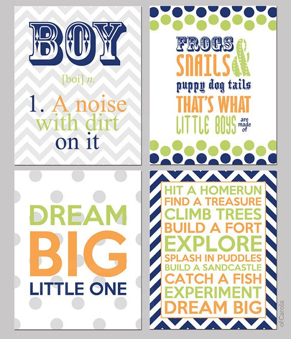 "Navy Blue Lime Green Orange Gray White Boys Quote Wall Art PRINT SET FOUR Prints, Personalized Children Baby Nursery ofCarola 8x10 "" inch"