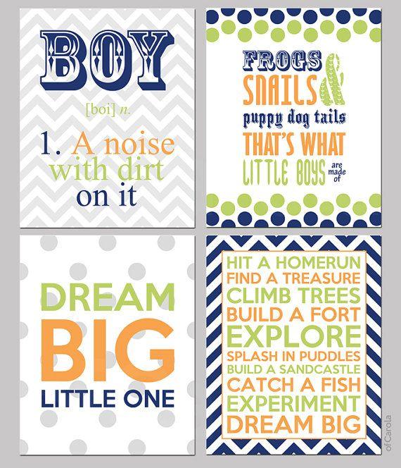 "Navy Blue Lime Green Orange Gray White Boys Quote Wall Art PRINT SET FOUR Prints, Personalized Children Baby Nursery ofCarola 8x10 "" inch"