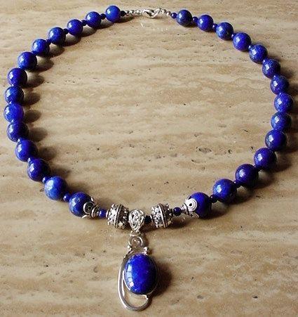 Blue Lapis Lazuli  Necklace c/w Lapis Lazuli Pendant  by camexinc