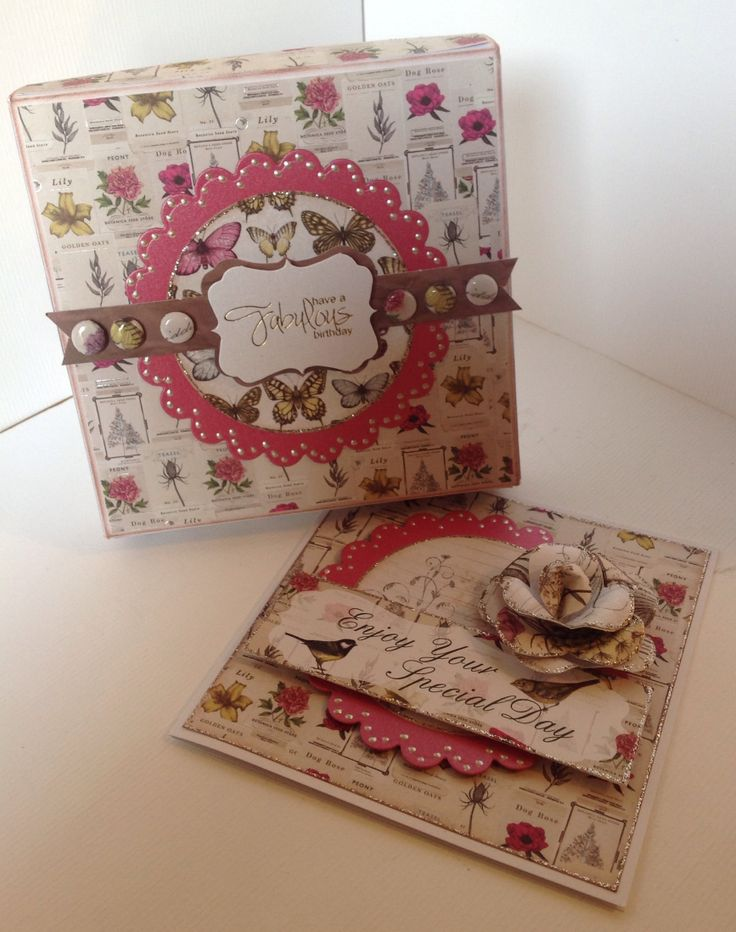 Box and card decorated by Julie Hickey using Botanica collection.