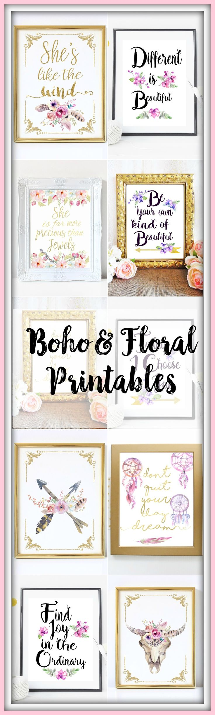 Watercolor boho & floral inspirational gold typography prints. Printable wall art.