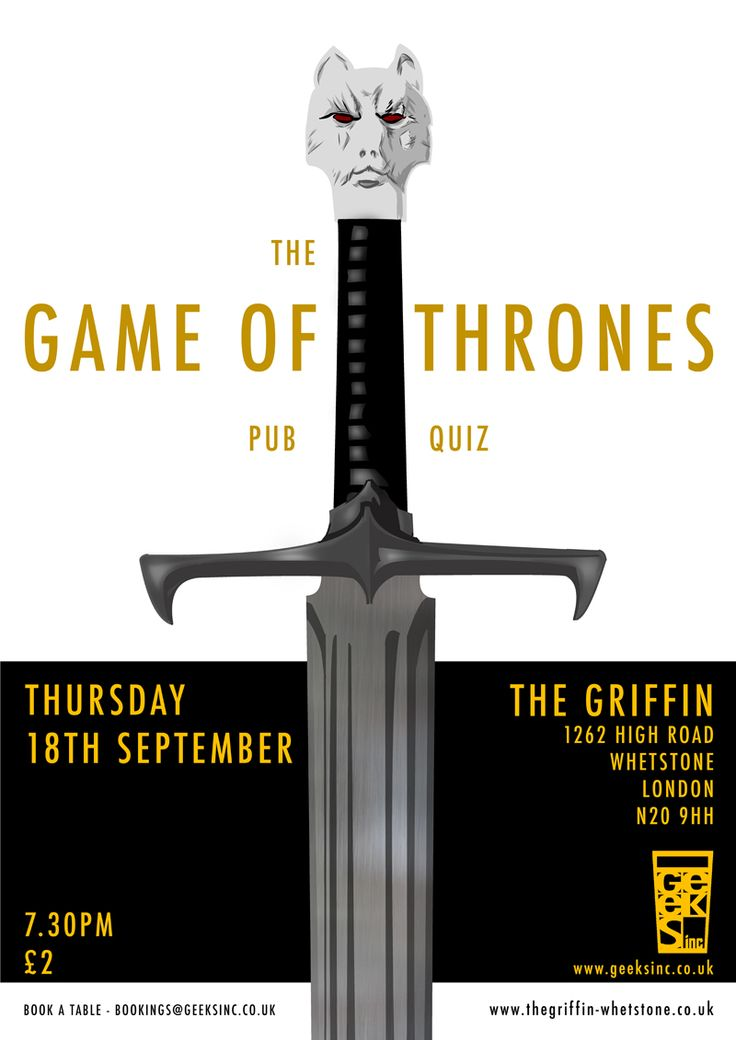 GAME OF THRONES - THE PUB QUIZ | Sep 18th in London | The Griffin, 1262 High Rd, Whetstone, London, N20 9HH | 7.30pm | £2 | Team Size: Up to six people