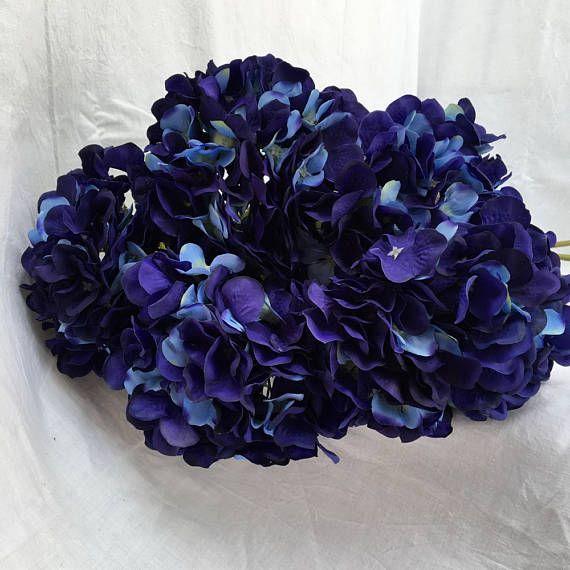 10 pcs Silk Hydrangea Navy Blue Wedding Flowers Tall Wedding