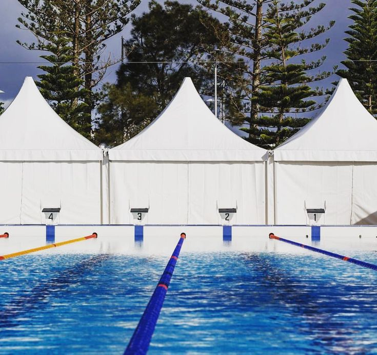 #GC2018 // The PAGODA Marquees lined up and ready for the athletes 🏊🏼♀️ Over the next 3 weeks, we're counting down to the Opening Ceremony…