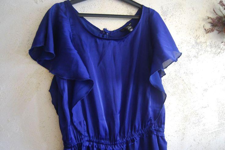 nwot gorgeous H&M cobalt royal blue ruffle satin playsuit jumpsuit uk 12 eu 40