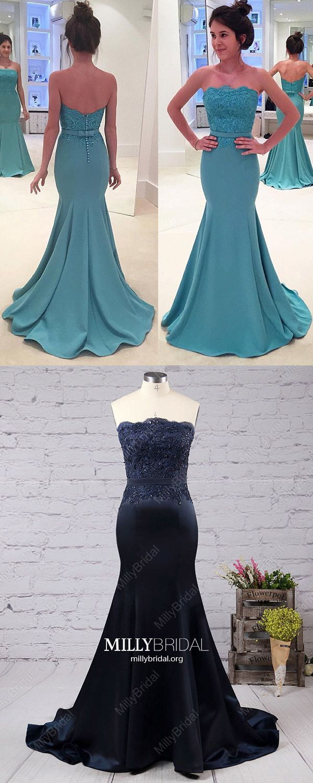 Green prom dresses longmermaid prom dresses lacestrapless prom