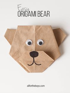 Easy Origami Bear + Disneynature's BEARS printables from All for the Boys blog