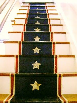 Great for a very colonial style house... ie traditional American Intimate Stairs: Painted, Stenciled & Wallpapered