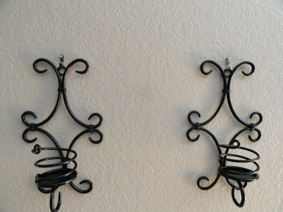 Black Wall Sconces for Candles by SheriChic on Etsy, $10.00