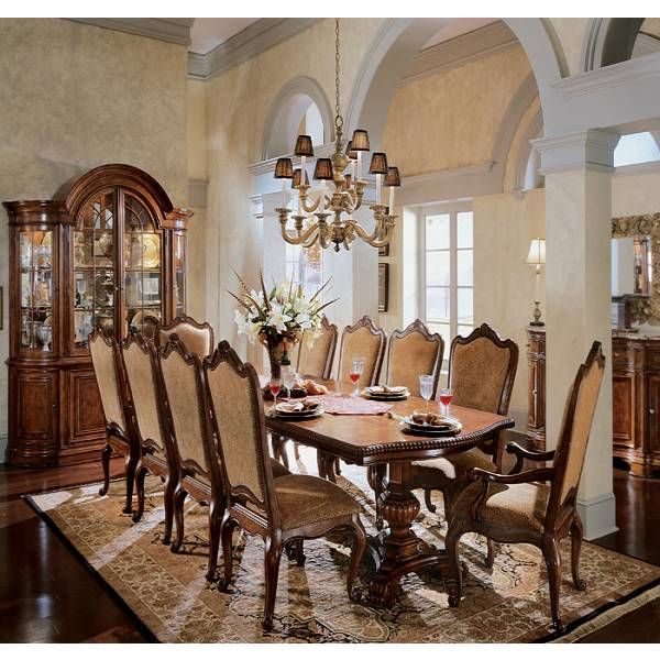 Traditional room set and villas on pinterest for Dining room tables houston
