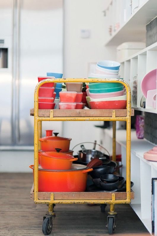 kitchen cart, colourful bowls