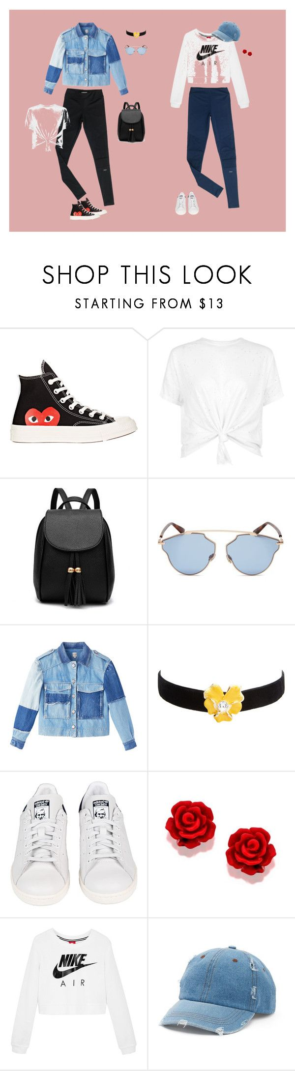 """""""One Legging: Two Styles"""" by wearnuyu on Polyvore featuring nuyu, Comme des Garçons, Christian Dior, Kenneth Jay Lane, adidas, NIKE and Mudd"""