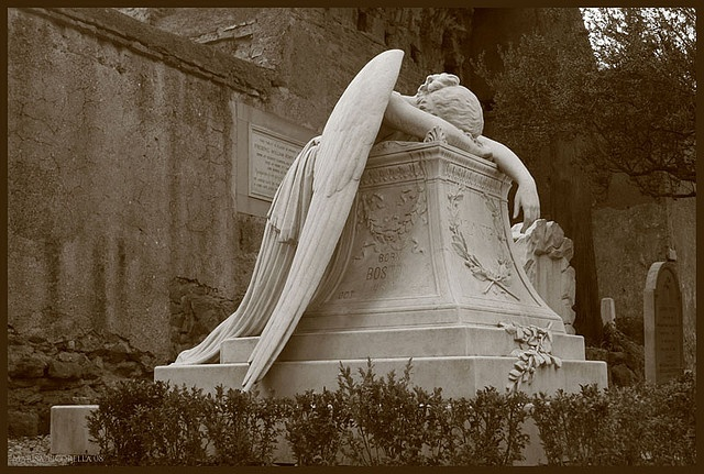 """""""Angel of Grief"""",The Tomb of Emelyn Story. English cemetery in Rome."""