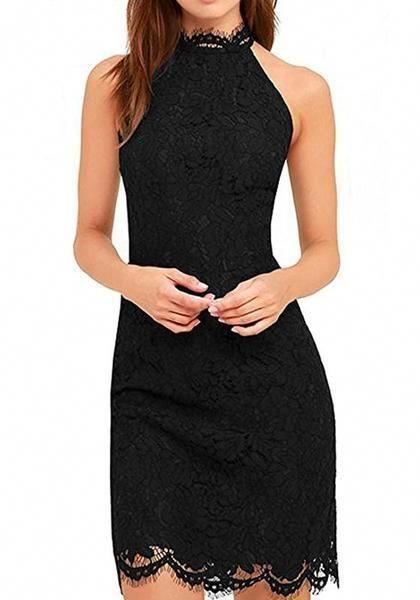 0caa80266760a Black Plain Lace Sleeveless Fashion Slim Midi Dress #redcocktaildress