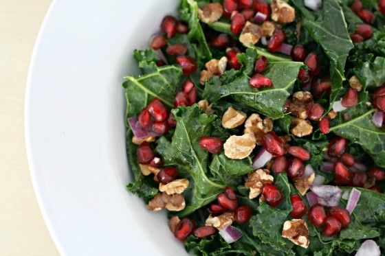 Raw Kale Salad with Pomegranate & Toasted Walnuts (high raw, vegan)
