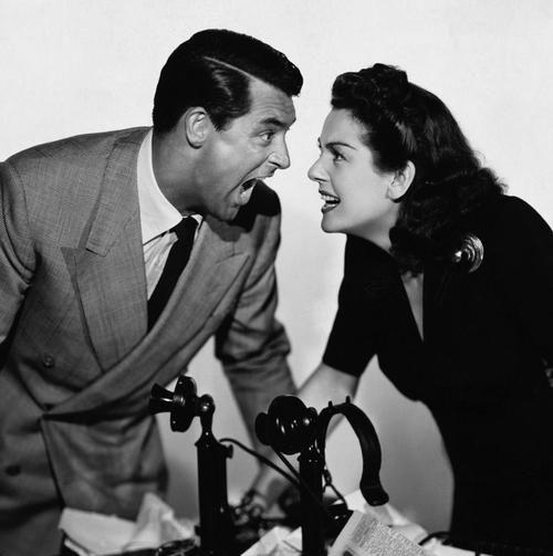 Cary Grant & Rosalind Russell in publicity still for His Girl Friday (1940, dir. Howard Hawks)