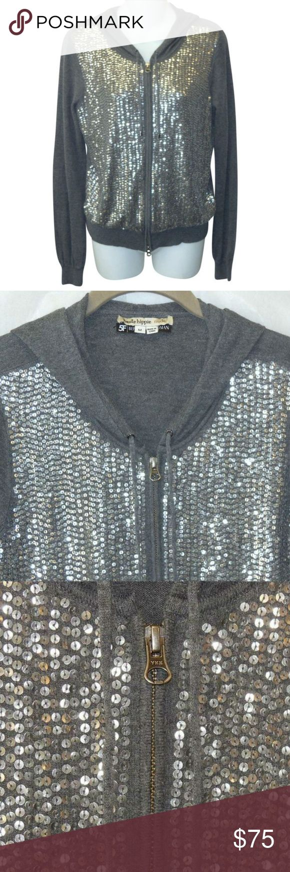 """Haute Hippie Sequin Cashmere Blend Hoodie Sweater Chic hoodie from Haute Hippie Nude for Bergdof Goodman in gray cashmere blend knit.  Features:  Sequined zip front hooded long sleeves Measurements:  Size Medium Bust 36"""" Sleeves 25.5"""" Length  21"""" back neck to hem  All Measurements Are Approximate  Measurements Taken Flat & Unstretched Excellent condition! Haute Hippie Sweaters Cardigans"""