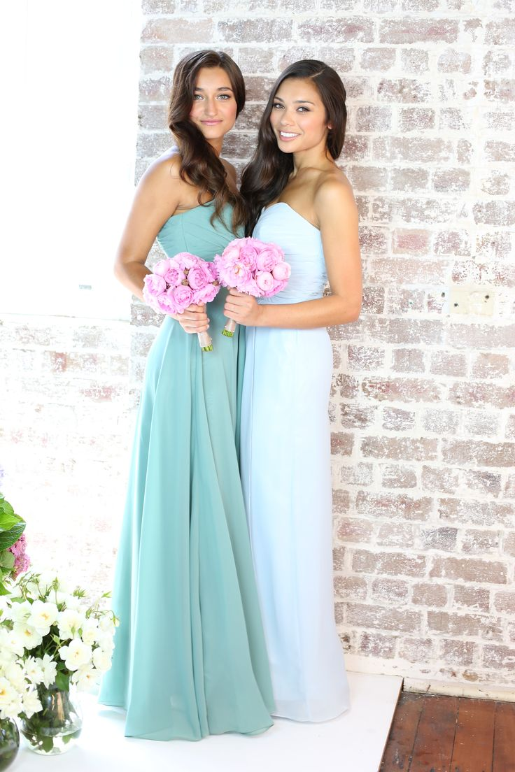 Soft pastel blue bridesmaid dresses for the romantic and classic bride. VERA sweetheart floor length dress www.stylaandco.com.au/vera/