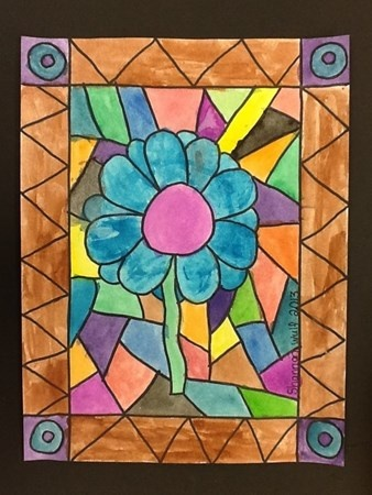 Artsonia Art Museum :: Artwork by Shannon2587  Using watercolors and black marker fourth grade artists created the effect of a stained glass window with all the shapes and lines.