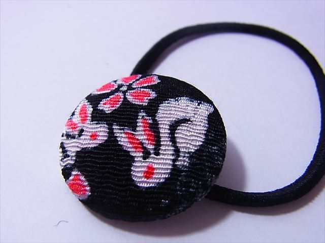 Lucky bunny in black Hair elastic band Japanese Kimono chirimen fabric pony tail holders covered buttons by chirimenbunny on Etsy