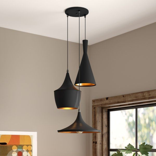 Carson 3 Light Cluster Cone Pendant Living Room Pendant Light Living Room Pendant Cluster Pendant Lighting