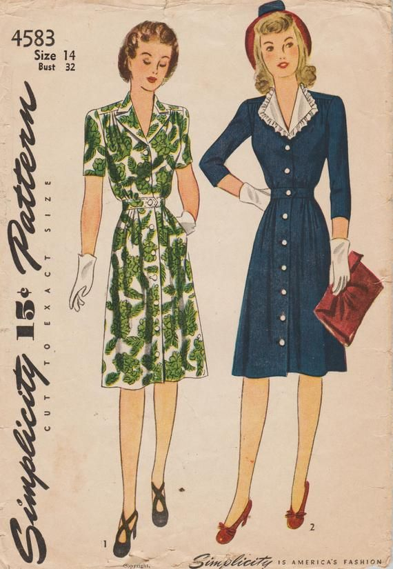 This Vintage Simplicity Sewing Pattern Was Designed In 1943 It Makes A Button Front Dress With Sleeve And Colla Dress Patterns Uniform Fashion Pattern Fashion