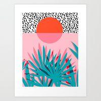 Art Print featuring Whoa - palm sunrise southwest california palm beach sun city los angeles retro palm springs resort  by Wacka