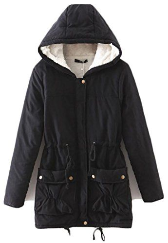 Sweatwater Women s Stylish Casual Hooded Fleece Loose Thick Warm Long Parkas  Black Small 5cd38b1b416d