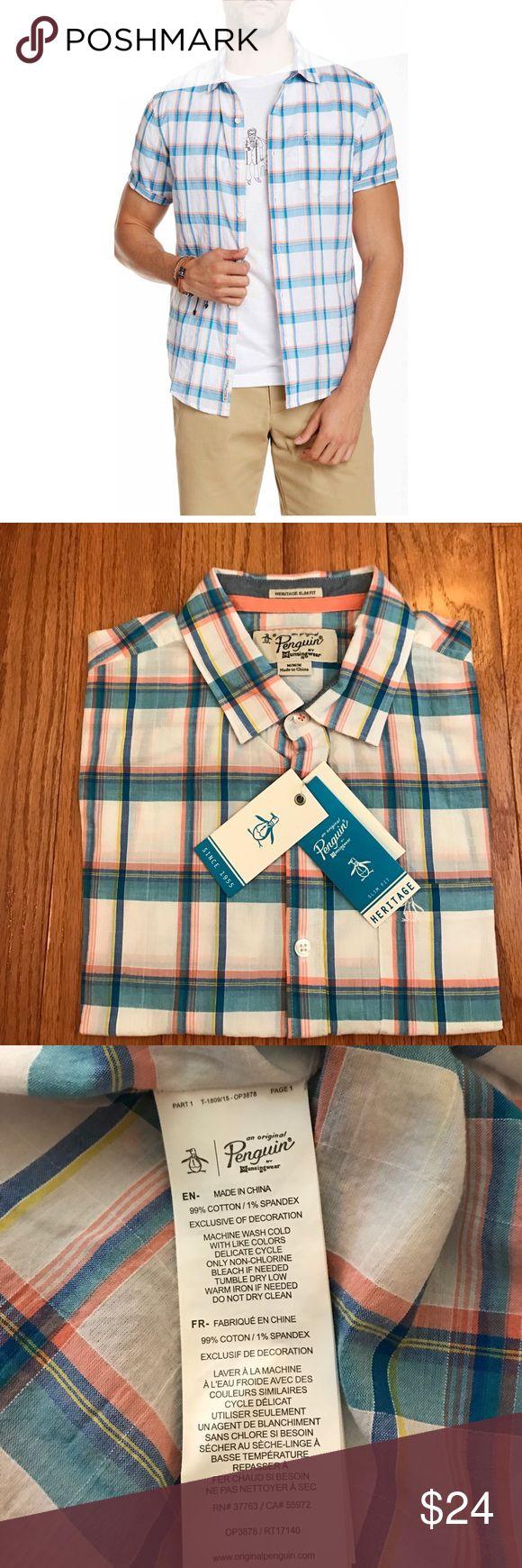 Original Penguin Plaid Shirt NWT Original Penguin Brand.  Shirt is Slim Fit with a Thin, Lightweight Material Original Penguin Shirts Casual Button Down Shirts